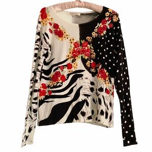 Angelica L. Animal Print Sweater Beaded Red Roses